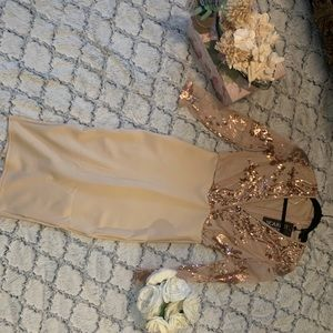 NWT GOLD SEQUIN DRESS